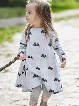 Casual Expansion Little Animal Printed Girls Dress