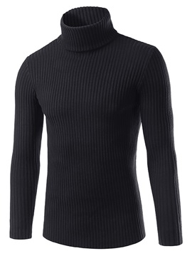 Solid Color High Collar Mens Sweater