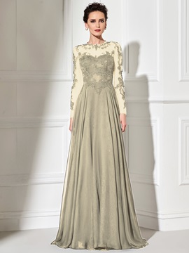 Hot Scoop A Line Long Sleeves Appliques Court Train Evening Dress