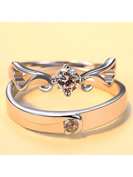 Wonderful 925 Silver Lovers Ring One Pair