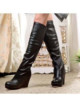 Solid Color Pu Wedge Heel Knee High Boots