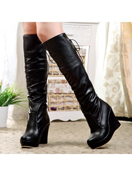 Pu Round Toe Wedge Heel Knee High Boots