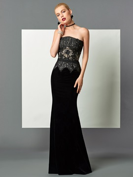 Velvet Mermaid Strapless Lace Floor Length Evening Dress