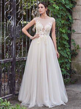 Charming Scoop Appliques A Line Backless Wedding Dress