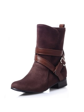 Suede Square Heel Slip On Booties