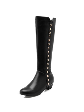 Faux Leather Rivets Square Heel Knee High Boots