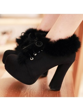 Faux Fur Lace Up Chunky Heel Ankle Boots