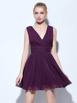 Simple V Neck A Line Ruched Short Cocktail Dress