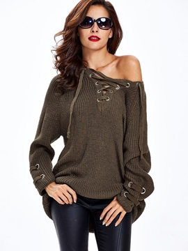 Pure Color Loose Lace Up Sweater