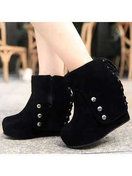 Black Studded Suede Ed Wedge Boots