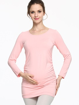 Slimming Long Sleeve Round Neck Maternity T Shirt