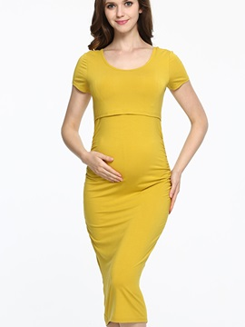 Solid Color Round Neck Short Sleeve Maternity Dress