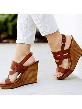 Pu Buckle Peep Toe Wedge Sandals