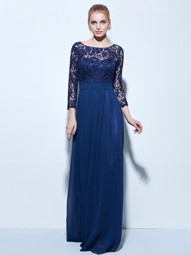 Elegant 3 4 Length Sleeves Lace Evening Dress
