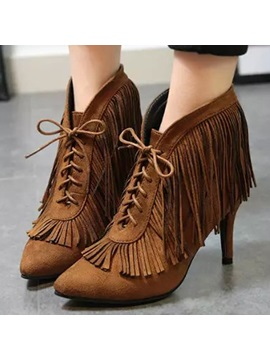 Suede Tassels Lace Up Ankle Boots