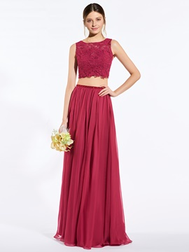 Modern Straps Beading Lace Two Pieces Bridesmaid Dress