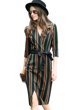 Vertical Striped Notched Lapel Lace Up Day Dress