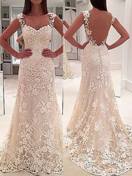 Straps Sheath Appliques Lace Wedding Dress