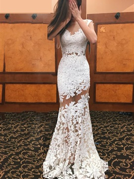 Illusion Neck Appliques Lace Backless Sheath Wedding Dress