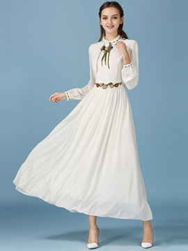 Chic Stand Collar Embroidery Vintage Maxi Dress