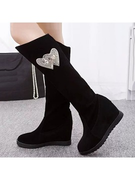 Rhinestone Hearts Embellished Knee High Boots