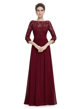 Elegant Bateau Neck 3 4 Length Sleeves Lace Evening Dress