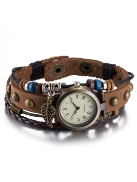 Multilayer Brown Belt Bracelet Watch