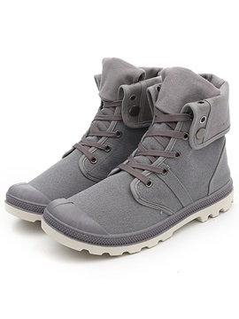 Denim Mid Cut Round Toe Mens Boots