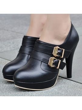 Pu Buckles Back Zip Ankle Boots