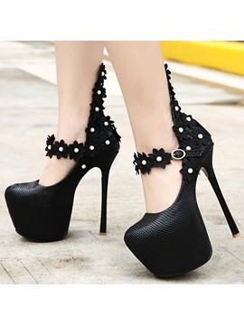 Beads Applique Stiletto Heel Prom Shoes