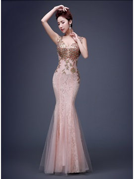 Vingtage V Neck Appliques Beading Lace Evening Dress