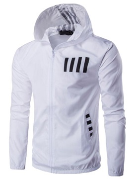 Zipper Hooded Color Block Mens Casual Thin Jacket