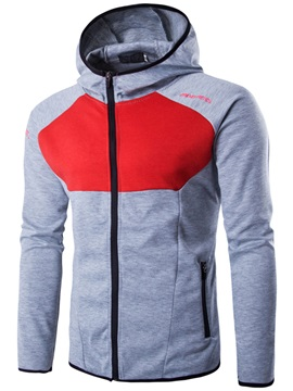 Zipper Patchwork Mens Cotton Blends Hoodie