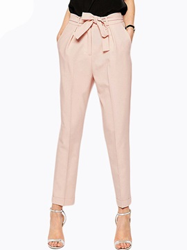 Pink Strap Pleated Harem Casual Pants