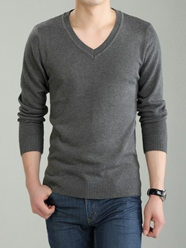 Plain Heart Shaped Neck Mens Causal Sweater