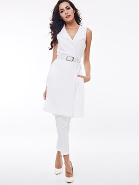 White Lapel Belt Coat Pants 2 Piece Sets