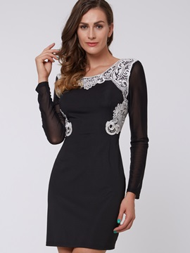 Lace Patchwork Long Sleeve Backless Womens Bodycon Dress
