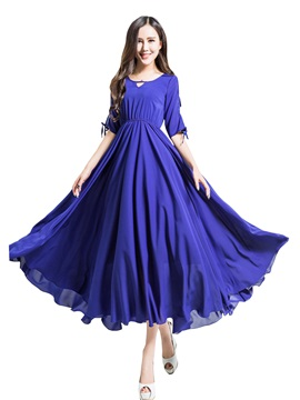 Solid Half Sleeve Hollow Expansion Dress