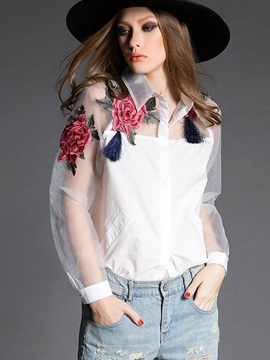 Chic Organza Embroidery Loose Blouse