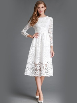 Floral Nine Points Sleeve Hollow Lace Dress