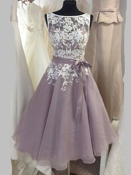 Beautiful Bateau Neck Lace Knee Length Bridesmaid Dress