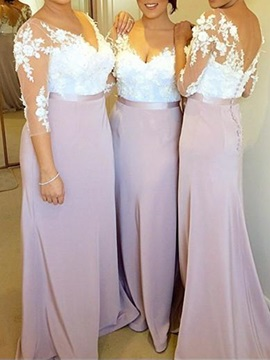 Appliques Long Bridesmaid Dress With Sleeves