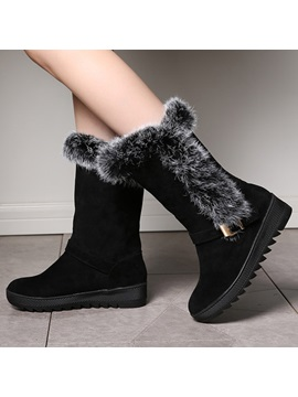 Faux Fur Round Toe Slip On Booties