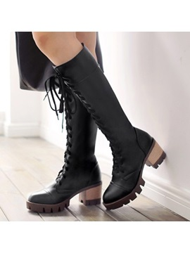 Pu Lugz Sole Chunky Heel Knee High Boots