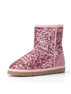 Stylish Sequins Lined Flat Kids Snow Boots
