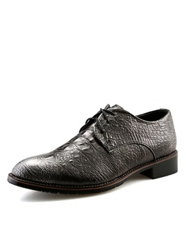 British Embossed Pu Lace Up Mens Dress Shoes