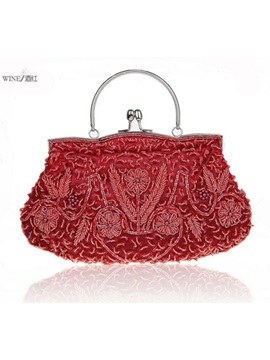 Retro Pearl Embroidery Evening Clutch
