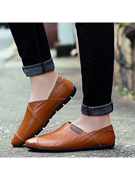 Western Pu Thread Slip On Casual Shoes For Men