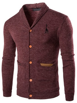 Turn Down Collar Chest Print Mens Single Breasted Sweater