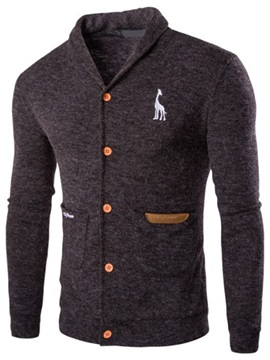 Lapel Single Breasted Plain Mens Sweater